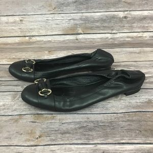 Gucci Black Leather Scrunch Ballet Flats